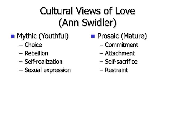 Cultural views of love ann swidler