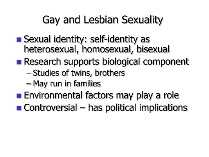 Sexual identity: self-identity as heterosexual, homosexual, bisexual