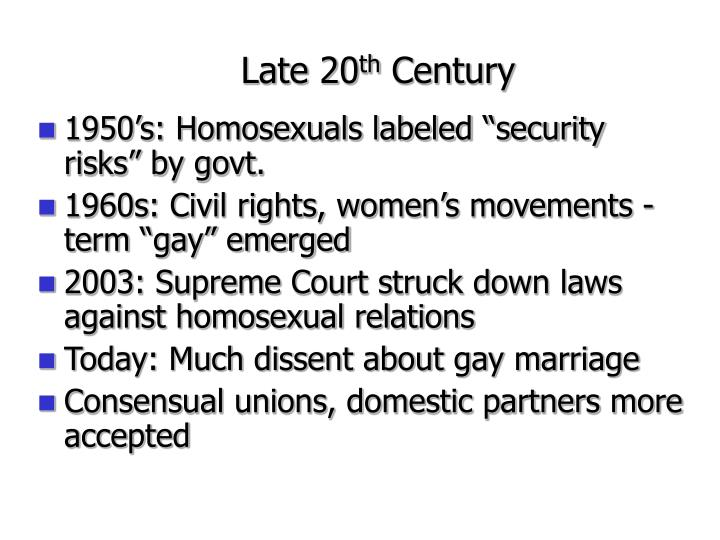 "1950's: Homosexuals labeled ""security risks"" by govt."