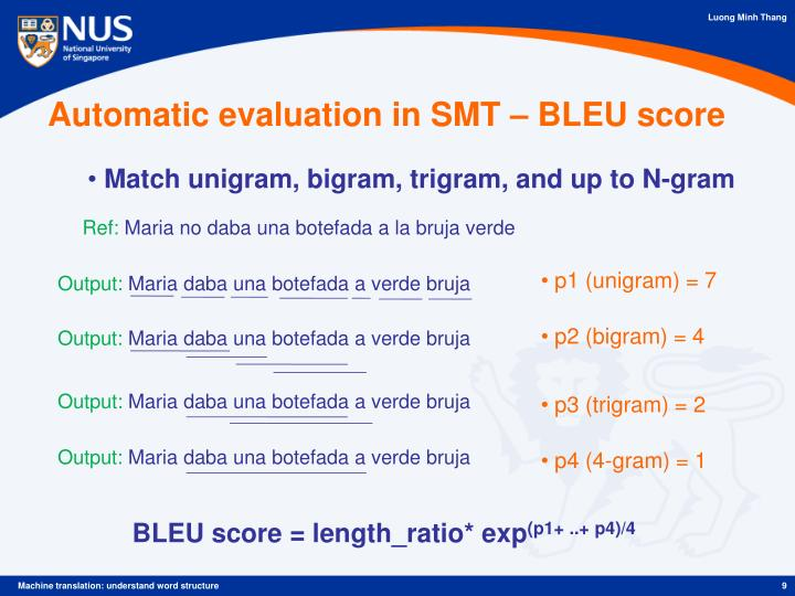 Automatic evaluation in SMT – BLEU score