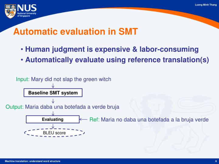 Automatic evaluation in SMT