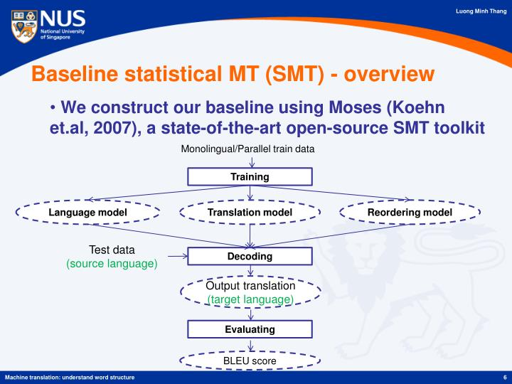 Baseline statistical MT (SMT) - overview