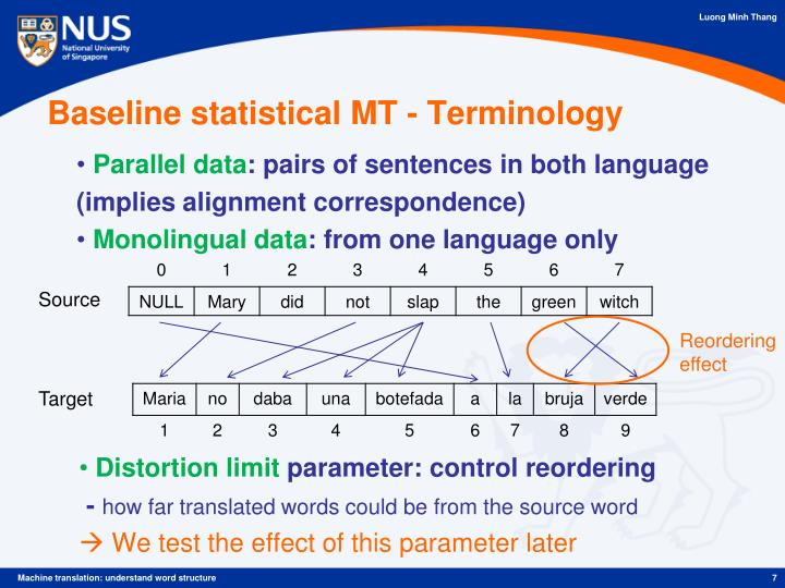 Baseline statistical MT - Terminology