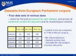 datasets from european parliament corpora