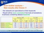 even further analysis new results after thesis