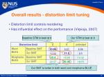 overall results distortion limit tuning