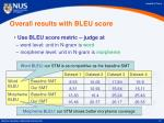 overall results with bleu score