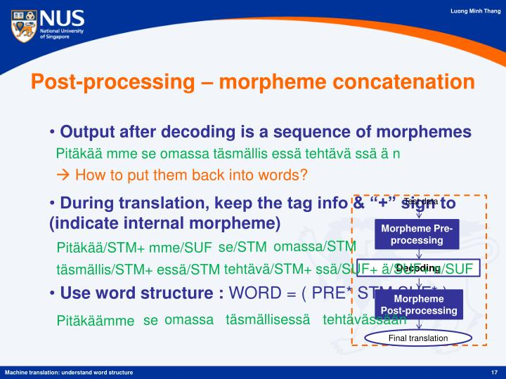Post-processing – morpheme concatenation