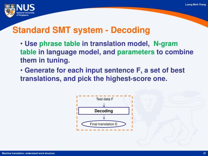 Standard SMT system - Decoding