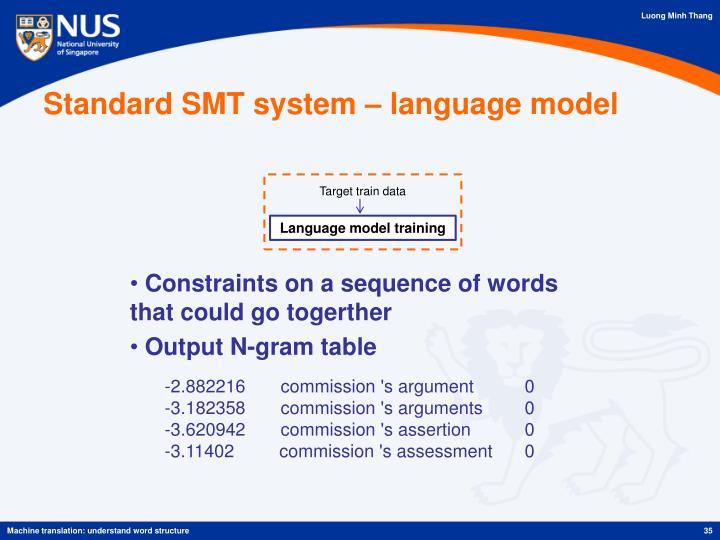 Standard SMT system – language model