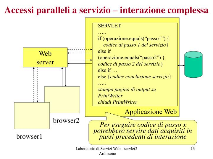 Accessi paralleli a servizio – interazione complessa