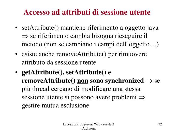 Accesso ad attributi di sessione utente