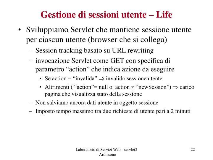 Gestione di sessioni utente – Life