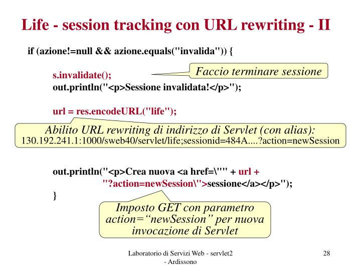 Life - session tracking con URL rewriting - II