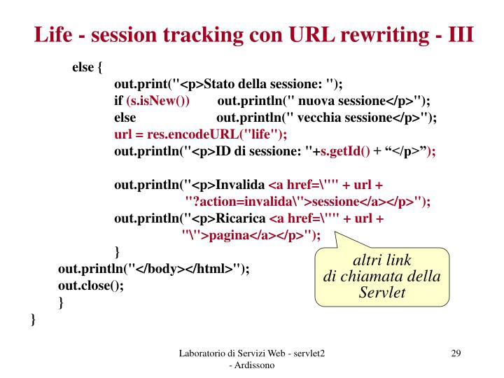Life - session tracking con URL rewriting - III