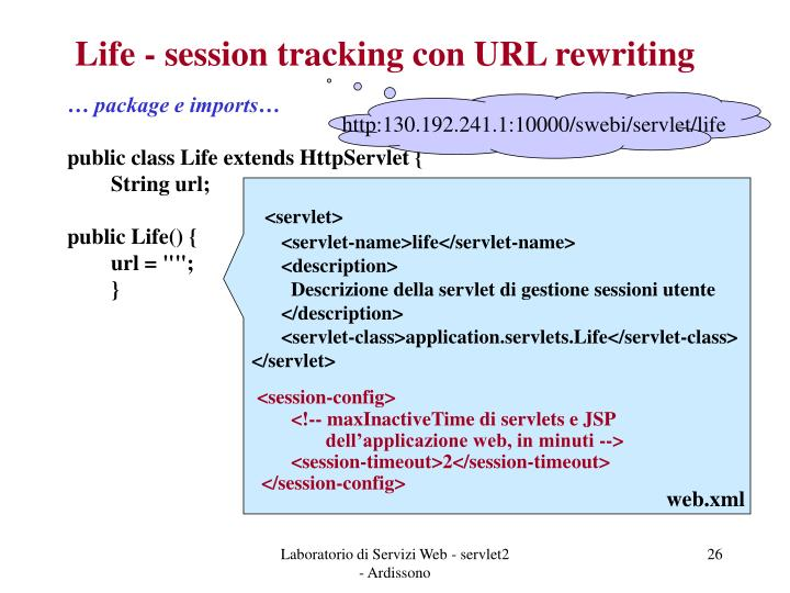 Life - session tracking con URL rewriting
