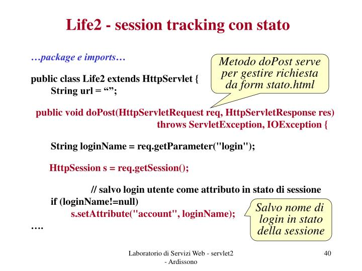 Life2 - session tracking con stato