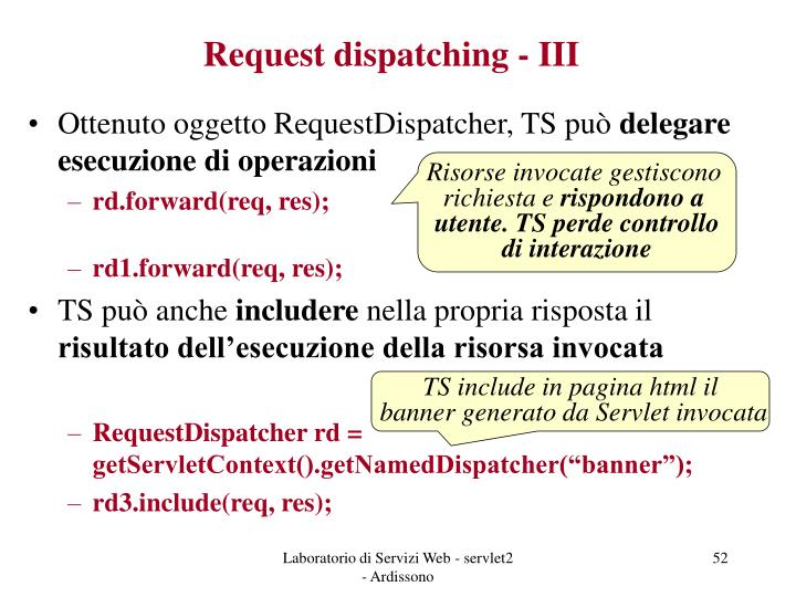 Request dispatching - III