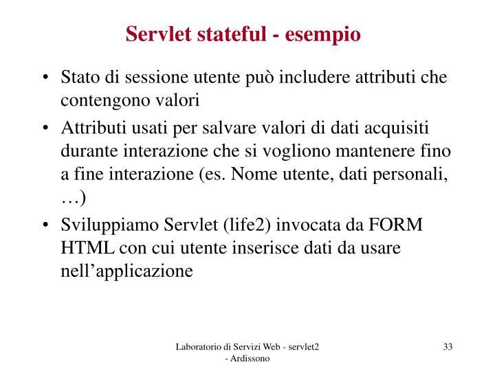 Servlet stateful - esempio