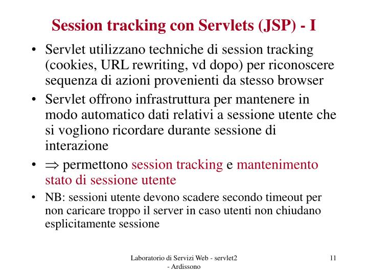 Session tracking con Servlets (JSP) - I