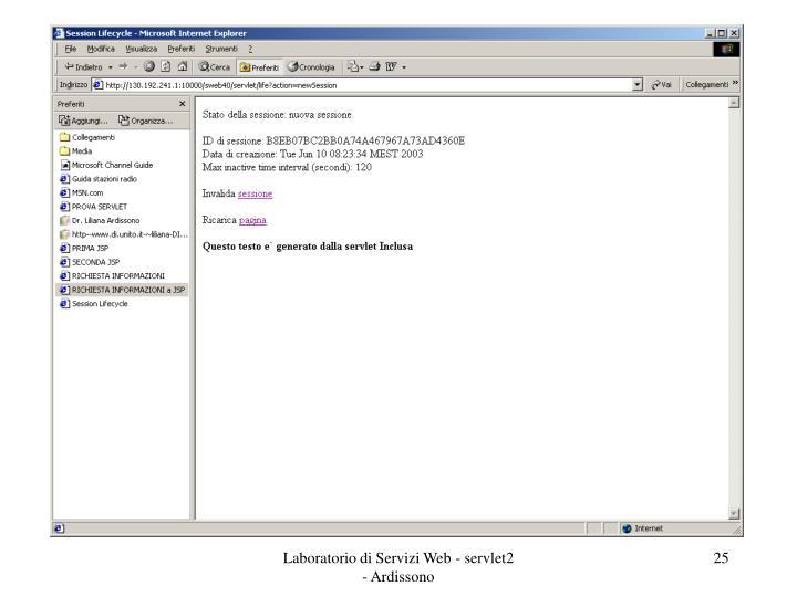 Laboratorio di Servizi Web - servlet2 - Ardissono