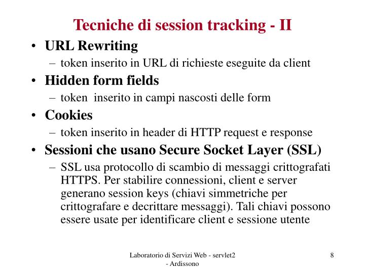 Tecniche di session tracking - II