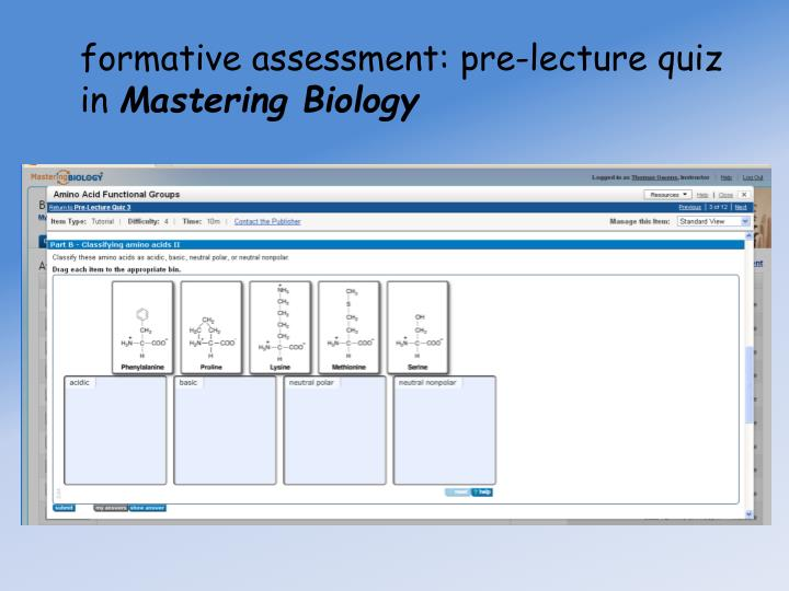 formative assessment: pre-lecture quiz in