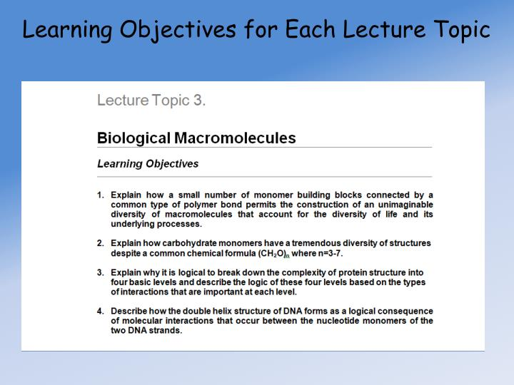 Learning Objectives for Each Lecture Topic
