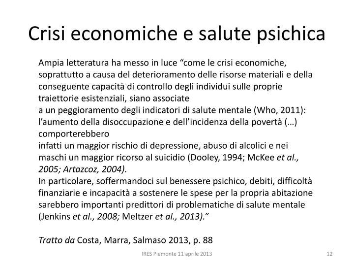 Crisi economiche e salute psichica