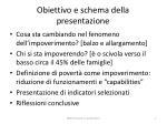obiettivo e schema della presentazione