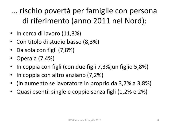 … rischio povertà per famiglie con persona di riferimento (anno 2011 nel Nord):