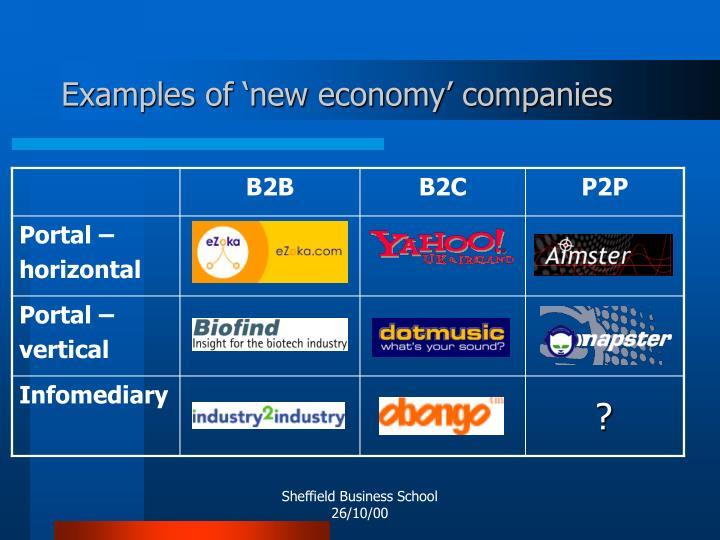 Examples of 'new economy' companies