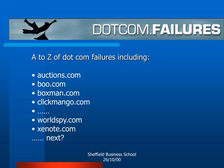 A to Z of dot com failures including: