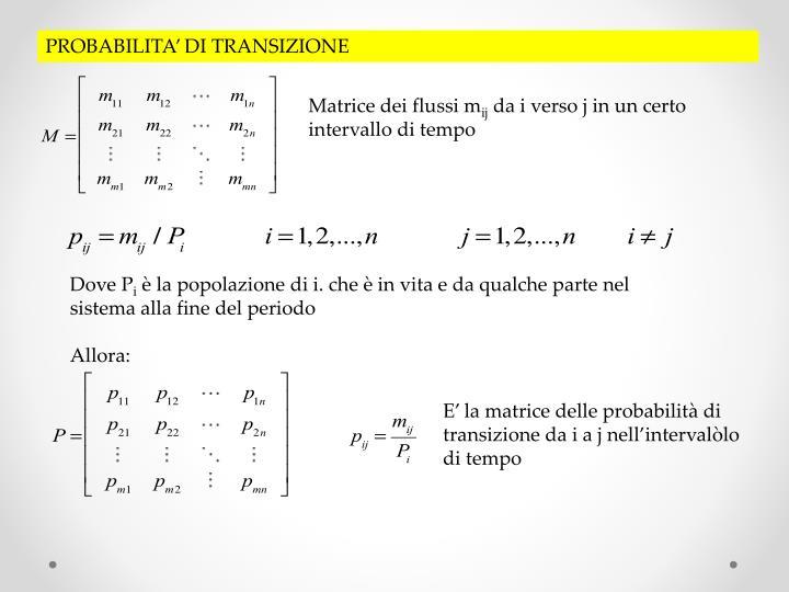 PROBABILITA' DI TRANSIZIONE