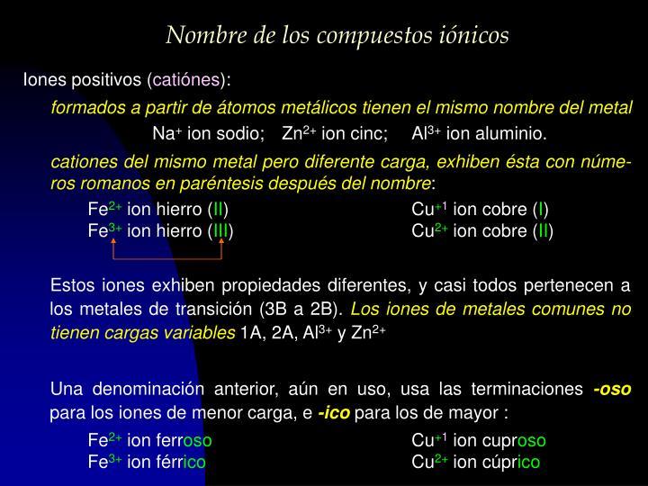 Nombre de los compuestos iónicos