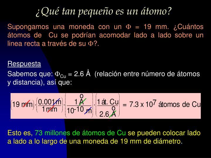 ¿Qué tan pequeño es un átomo?