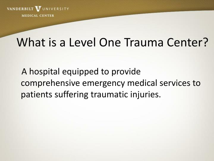 What is a Level One Trauma Center?