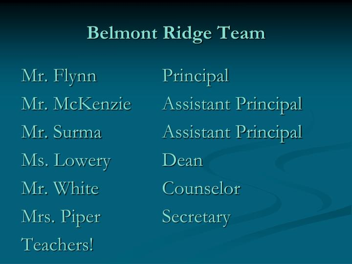 Belmont Ridge Team
