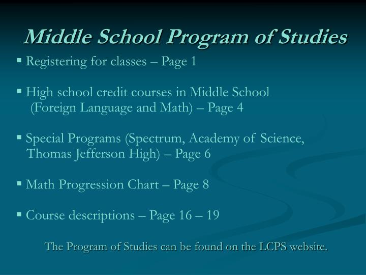 Middle School Program of Studies