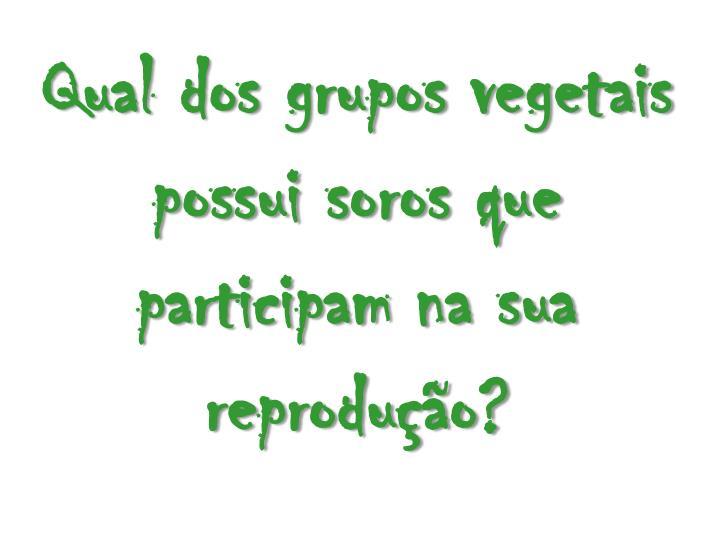 Qual dos grupos