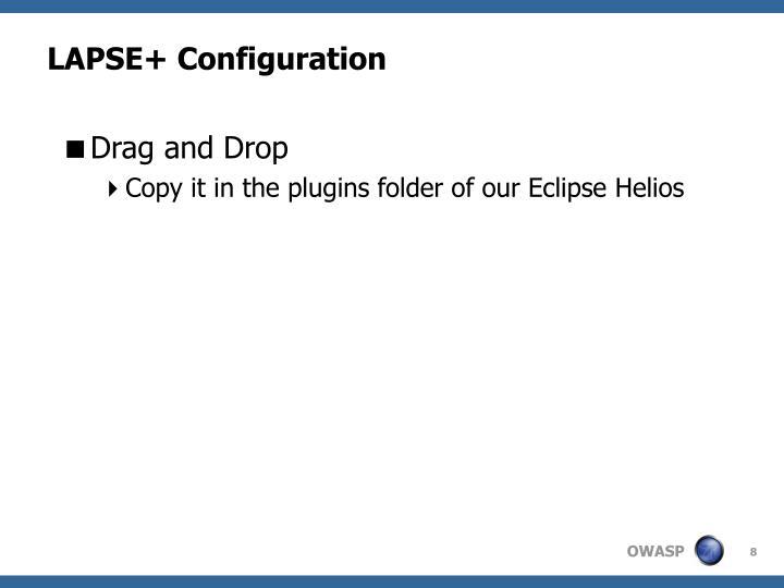 LAPSE+ Configuration