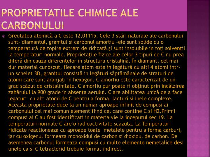 Proprietatile chimice ale carbonului