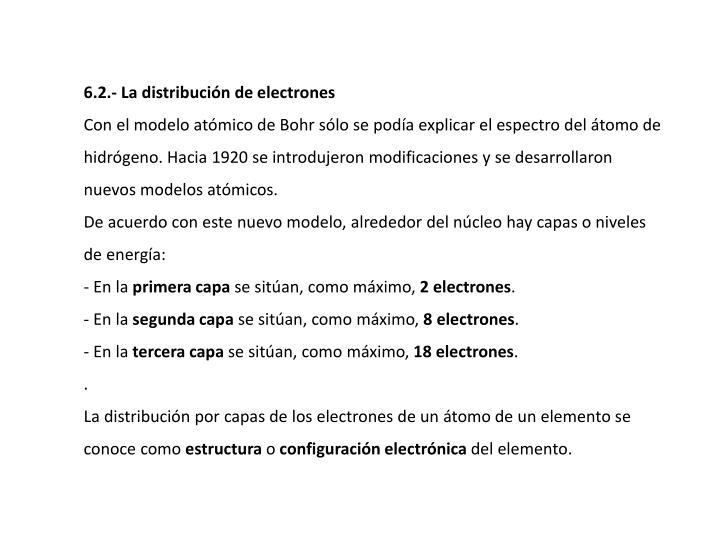 6.2.- La distribucin de electrones
