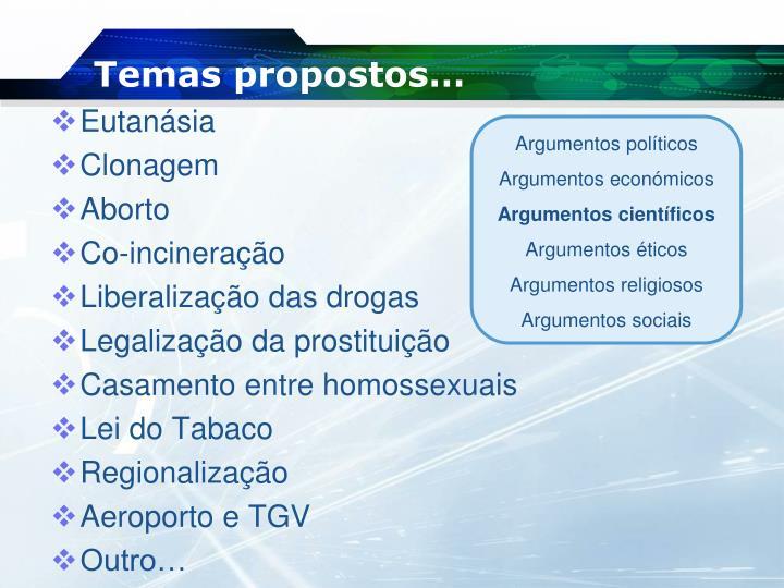 Temas propostos…