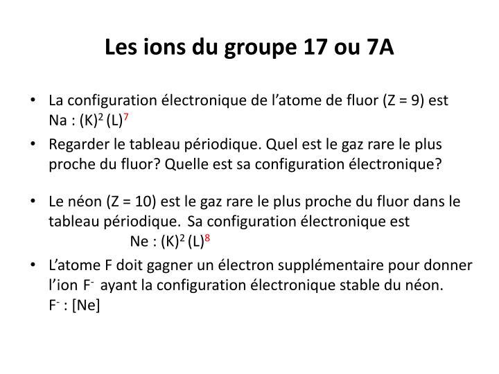 Les ions du groupe 17 ou 7A