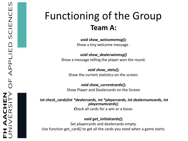 Functioning of the Group