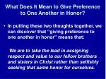 what does it mean to give preference to one another in honor1