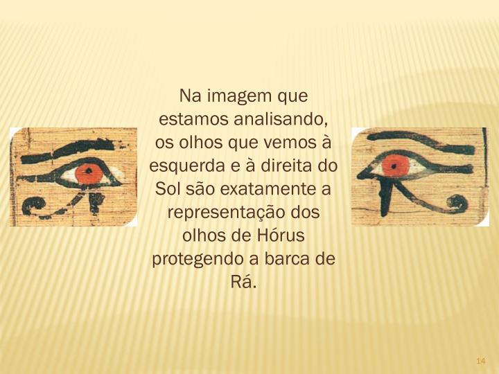 Na imagem que estamos analisando, os olhos que vemos  esquerda e  direita do Sol so exatamente a representao dos olhos de Hrus protegendo a barca de R.