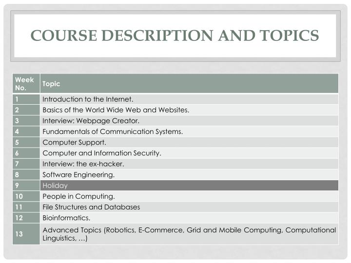 Course description and topics