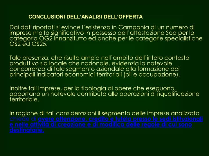 CONCLUSIONI DELL'ANALISI DELL'OFFERTA